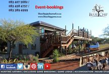 Game Lodge and Accomodation / A true African bush experience awaits you at Blue Chip Logde, where the essence of the Vaalkop wilderness is combined with comfortable accommodation,creating a wild African atmosphere.The open deck with the romantic roaring fire in the boma, creates the perfect end to a relaxing day in the bush. Traditional South African hospitality await you in the informal dining area. The lodge offers a peaceful conference room on the second floor. Suitable for events, weddings etc.