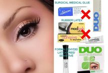 "FALSE EYELASH GLUE / Learn everything about false eyelash glue, from the different types of lash adhesive, what you need to know before BUYING, MYTHS and FACTS associated with lash glue and false eyelash adhesive remover, to which brands to AVOID and what ""SURGICAL"" and ""MEDICAL GRADE"" false lash glue terms really mean. Get the BEST eyelash glue TIPS for your semi-permanent individual lashes (i.e. flare lashes) and strip false lashes including cruelty-free 100% authentic mink eyelashes."