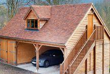 Two storey timber garages