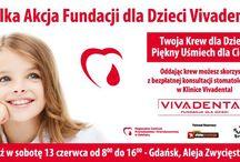 Pierwsza Wielka Akcja zbierania krwi dla Dzieci / Fundacja dla Dzieci Vivadental inauguruje kolejną formę działalności na rzecz naszego społeczeństwa, jakim jest organizowanie akcji oddawania krwi i propagowanie działalności banku szpiku kostnego. Przed nami Pierwsza Wielka Akcja zbierania krwi pod hasłem: Twoja Krew dla Dzieci – Piękny Uśmiech dla Ciebie. Dawcy będą mogli skorzystać z bezpłatnego przeglądu uzębienia, bo piękny uśmiech to najbardziej widoczna oznaka zdrowia.