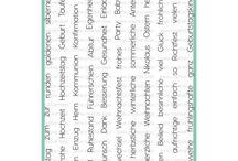 Viele Grüße / Deutsche Textstempel auf einem großen Din A5 Set. 67 Worte bieten zu jedem Anlass und jedem Fest die richtigen Worte