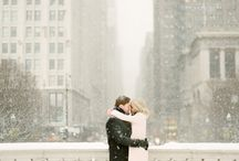 Winter engagement city
