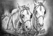 Horses in Art- Carriage Horses 2 (Partial horse) / .