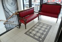 Renovation at 7 Hills Bistro, Armagh / Our Donard black & white Victorian tiles installed in the entrance of 7 Hills Bistro in Armagh, complete with tiled staircase and Schluter nosing.