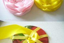 цветы из ткани и пряжи / цветы из ткани,  лент и тесьмы