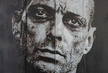 mes réalisations / pochoir / street art / bombe aérosol / noir & blanc / stencil / spray can / peinture / bois / toile / papier marouflé / wood / canvas / carton
