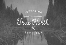 True #North Textures #Fonts / True North is back but now in a distressed version and new styles! True North Textures is a vintage typeface with 18 fonts and a monoline script. True North Textures comes with distressed labels, extras and free banners. Extras include wild animals, catchwords, numbers, mountains, symbols, tools, leaves and trees.  http://www.myfonts.com/fonts/cultivated-mind/true-north-textures/