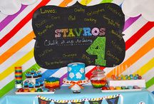 Chalkboard Party / Chalkboard party inspiration! • Products: http://www.chickabug.com/shop-by-theme/chalkboard-rainbow-party