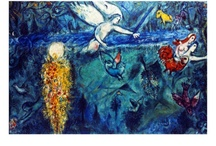 Marc Chagall / Despite an impoverished upbringing in a shtetl in Russia, Marc Chagall (1887 – 1985) filled his canvases with happy, optimistic references to his childhood which he denoted in delicate lines and bright colors. Painting a blend of the fantasy, nostalgia and religious imagery, Marc Chagall intended his paintings to be odes to love. / by Art.com