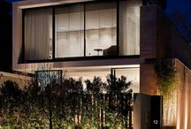 External Venetian Blinds by night / Outdoor Venetian Blinds on the front facades of buildings at night time