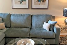 Parsons Interiors Living Room Mississauga / Living Room in Mississauga beautiful blue/green sofa