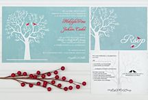 Winter love bird wedding / Winter wedding love birds blue and red winter tree