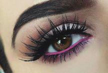 Makeup. Pink eyeliner
