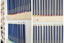 Craft Organization | Anne Manera / Great ideas and products to help you keep your adult coloring supplies, drawing supplies or general art supplies organized! | Pencil storage ideas, coloring supplies, organize your coloring supplies,craft room storage, craft room organization, DIY pencil storage, DIY marker storage