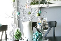 Mint green and silver christmas table theme
