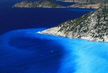 Ionian Sea in Greece / Green islands and light blue waters..
