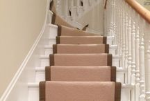 Stairs & Landings In Pink Carpet Stair Runner / Client: Private Residence In North London Brief: To uplift existing carpet, then to supply & install new carpet with edgings to the stairs.