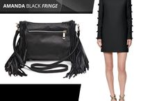 Marlafiji - Top model - amanda black leather shoulder bag / We love this basic black Long sleeve  bow embellished dress   by our all time favorite Designer Valentino perfect match with Marlafiji Amanda black Tassel
