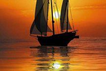 Sunset, ships