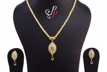 Simple Single Line Pearl Necklace Set in Golden Pearls at Rs.1900