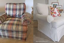 Bonnie's Canvas Slipcovers / Bonnie's comfortable Sherrill chairs and ottoman are favorites in her summer home but the worn, outdated upholstery had to go. I made her washable slipcovers from cotton CarrGo Canvas, color Natural. A lovely cottage look that's super versatile.