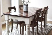 wood and white table