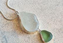 Beach Glass Jewelry - Beauty from the Sea / Alice Taylor personally finds each piece of sea glass for her sterling silver jewelry on Washington's beaches. There is no mechanical tumbling or shaping. The glass is naturally tumbled by the surf of Puget Sound, making it genuine sea glass. Contact the gallery for additional earrings selection, custom pieces.