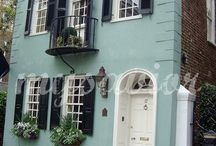 Window boxes on town houses