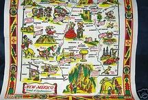 Vintage 50's Souvenir New Mexico Tablecloth, Great Images.