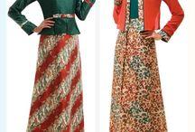 gamis batik kombinasi muslim