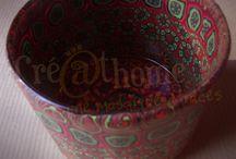 Pots de verres + Polymère / Des pots en verre recouverts de pâte polymère. Un effet sympathique
