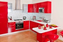 Red white and black kitchen
