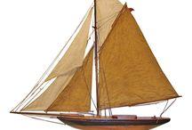 Antique sailing boats