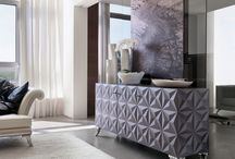 "Cabinet and chest of drawers with ""Diamond"" pattern / Diamond is the key element of the ""Diamond Collection"", proposed by Bizzotto in color greyvi."