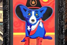 Framed Blue Dog by George Rodrigue. / We are tickled blue with how this framing turned out!
