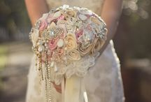 Ribbon and button bouquets