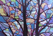 Decorative Tree Paintings / Paintings using the shapes of trees in a decorative, pattern like way.
