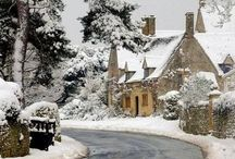 Winter. / Snow, cold and staying in with fireplace crackling.