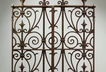 Ornate Reclaimed Gates + Railings / Most are 19th century wrought or cast iron examples, ranging from classic simple field gates to magnificent grand entrance gates and railings with elaborate wrought iron scrollwork.