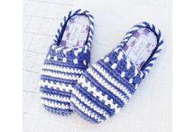 Háčkované papuče, ponožky