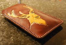 Reindeer Phone leather cover, veg tan leather, handcarving, custom