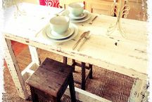 Recycled and chunky tables