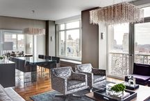 Residential Gothan Glamour New York / V-carré #chandelier in clear bronze shades for the dream house Gotham Glamour at Upper West Side #NYC. On a project by Schoeller + Darling Design and supplied by Ecru Design Los Angeles, here the #design blends modern ease with classic New York City glamour — in a location designed for a modern family.