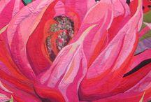 Flower art quilts
