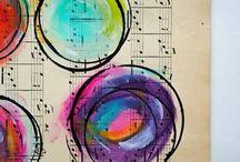 pintura sobre partitura o diario