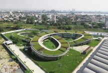 Edificações com telhados verdes