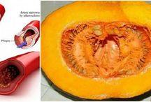 Triglicerídeos, colesterol, diabetes - com a casca da abóbora com  pescoço
