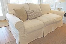 Natural Denim Slipcovers / Natural heavy weight denim makes the best everyday slipcovers. Casual, durable, washable and the look is so versatile.