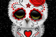 Cute Red Day Of The Dead Sugar Skull Owl
