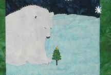 Polar Prayer / Polar Prayer - Original art work by Will Bullas. Quilt by Nan Baker of Purrfect Spots featured as a BOM in The Quilt Pattern Magazine - Feb/Nov 2013 www.quiltpatternm... Polar bear praying next to a Christmas Tree on a cold starry night. Could it possibly be Christmas Eve?